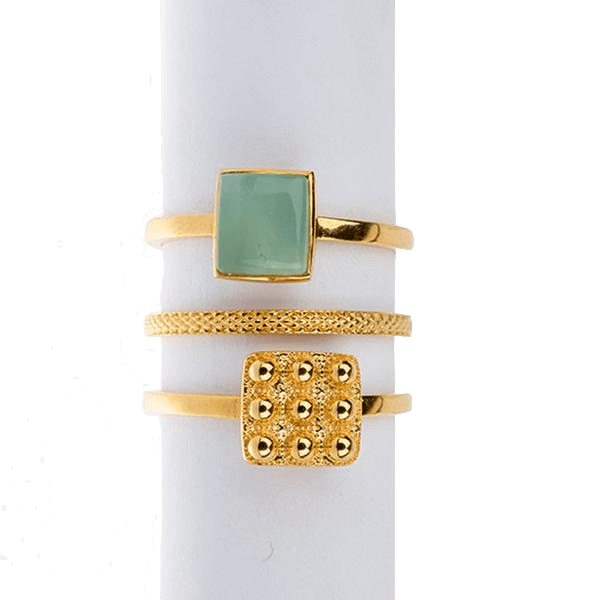 Yenaé Jewelry Collection 14 carat gold plated semi-precious chrysoprase gemstone Teslom Stackable Ring  displayed.