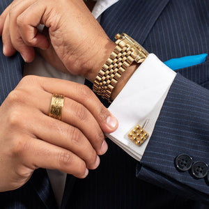 Yenaé 14K Gold Plated Telsom Dome cufflink worn by a model.