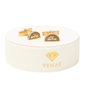 Yenaé 14K Gold Plated Telsom (Semi-Circle) cufflink Displayed on package.