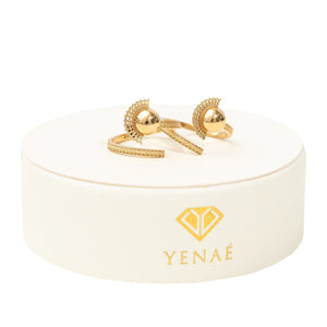 Yenae 14K real gold plated Tsirur Ring displayed on package.