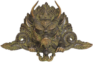 Brass Wrathful Buddha Wall Mask