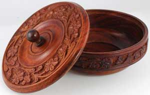 Decorative Wood Bowl with Lid