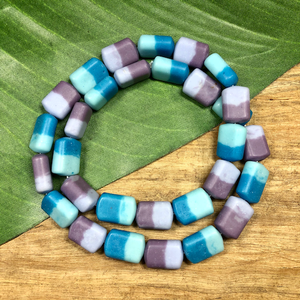 Two Tone Rectangular Beads - 30 Pieces