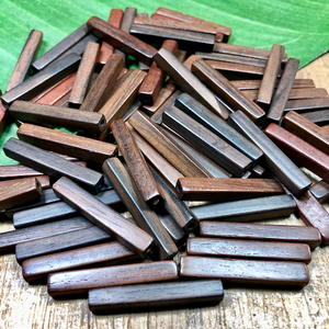 Brown Wood Rectangular Beads - 50 Pieces