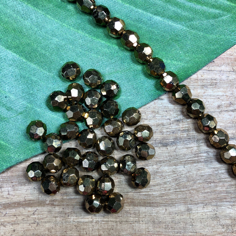 Vintage Crystal Bronze Beads - 50 Pieces
