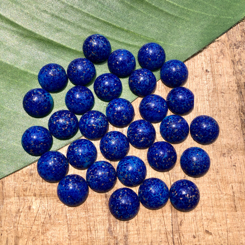 Blue & Gold Japanese Cabochons - 10 Pieces