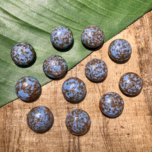 Light Blue & Copper Cabochons - 10 Pieces