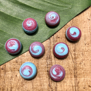 Pink & Light Blue Swirl Cabochon Lot - 8 Pieces