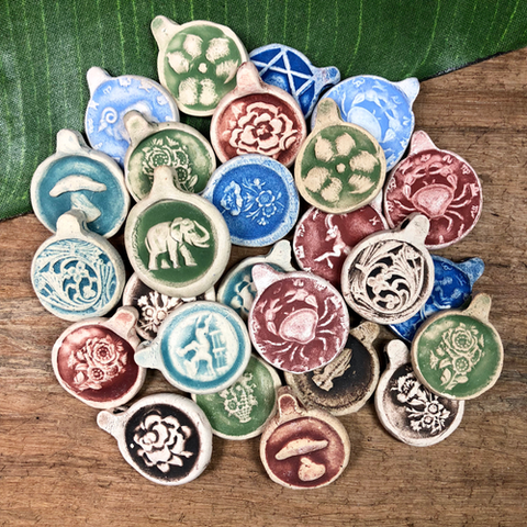Groovy Ceramic Pendants - 9 Pieces