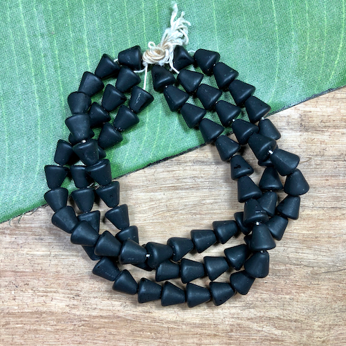 Black Matte Cone Beads - 25 Pieces