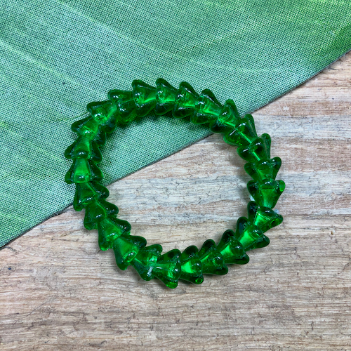 Green Flower Beads -100 Pieces
