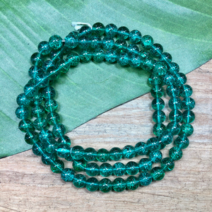 Green Crackle Round Beads - 100 Pieces