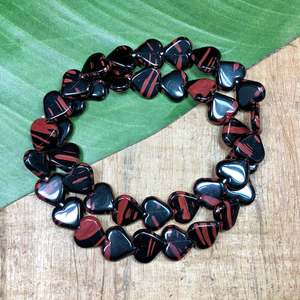 Black & Terracotta Heart Beads - 40 Pieces