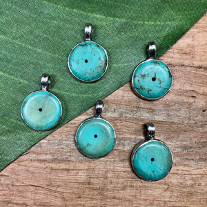 Turquoise & Sterling Silver Pendants - 1 Piece