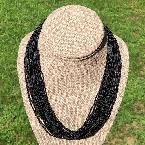 Black Charlotte Multi Strand Seed Bead Necklace