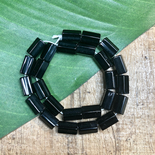 Shiny Black 5 Sided Tube Beads - 40 Pieces