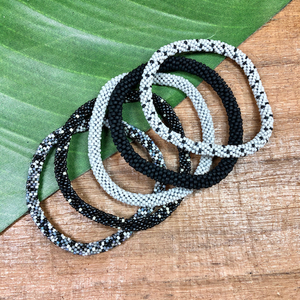 Oreo Beaded Bangle Set of 5