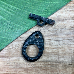 Hand Carved Black Wood Toggles - 1 Piece
