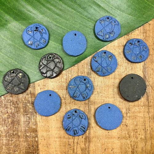 Japanese Ceramic Disc Pendants - 12 Pieces