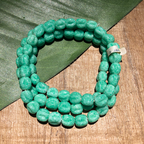 Japanese Green Melon Beads - 75 Pieces