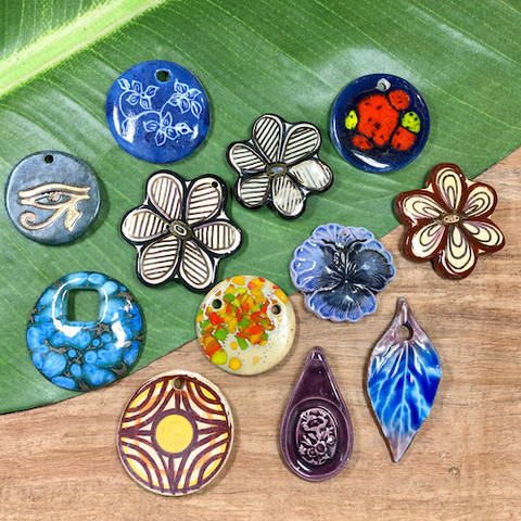 Assorted Ceramic Pendants - 12 Pieces