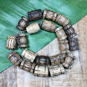 Palm Wood Barrel Beads - 20 Pieces