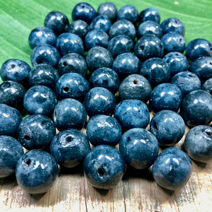 "Navy ""Blueberry"" Ceramic Beads - 18 Pieces"