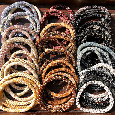 NEW Beaded Bangles - Neutrals