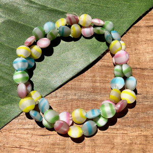 Pastel Striped Aspirin Beads - 50 Pieces