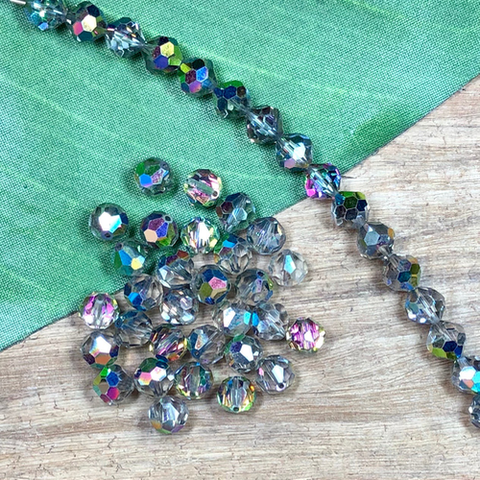 Vintage Swarovski 8mm Dark Gray - 10 Pieces