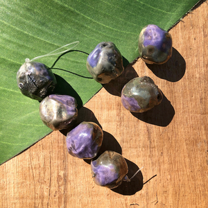 Lavender Raku Beads - 1 Piece