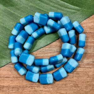 Teal Two Tone Rectangular Beads - 35 Pieces