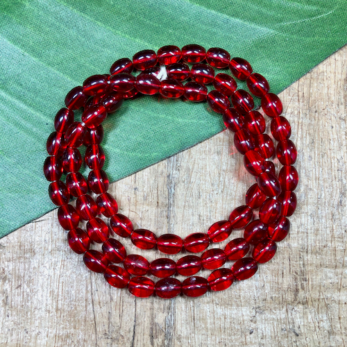 Red Oval Glass Beads - 75 Pieces