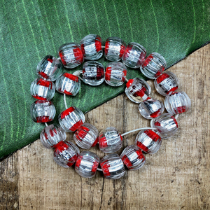 Japanese Red & Silver Foil Beads - 25 Pieces