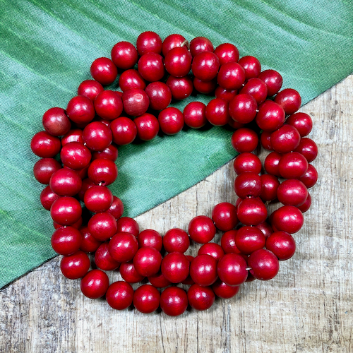 Round Red Wood Beads - 100 Pieces