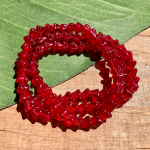 Red Small Flower Cap Beads - 100 Pieces