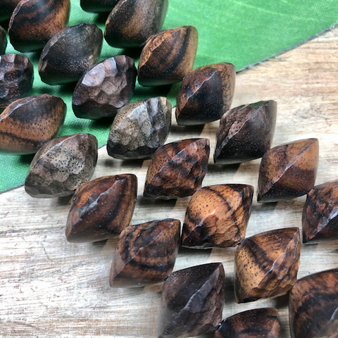 Hand Carved Brown Sono Wood Saucer Beads - 9 Pieces
