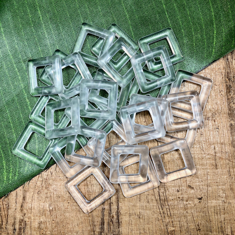 Square Glass Links - 12 Pieces