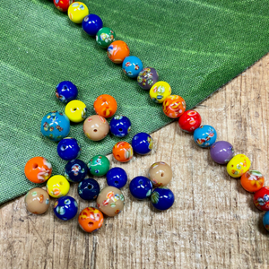 Assorted Flower Tombo Beads - 50 Pieces
