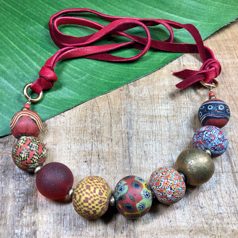 Red Suede Viking Bead Necklace