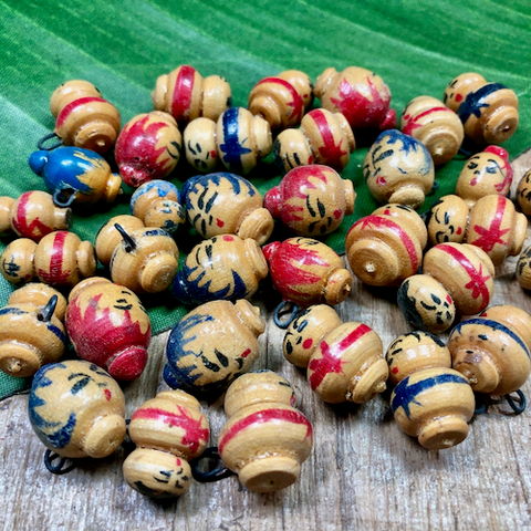 Painted Wood Heads & People Pendants - 34 Pieces