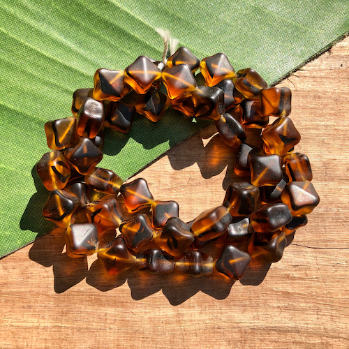 Amber and Brown Cube Beads - 50 Pieces
