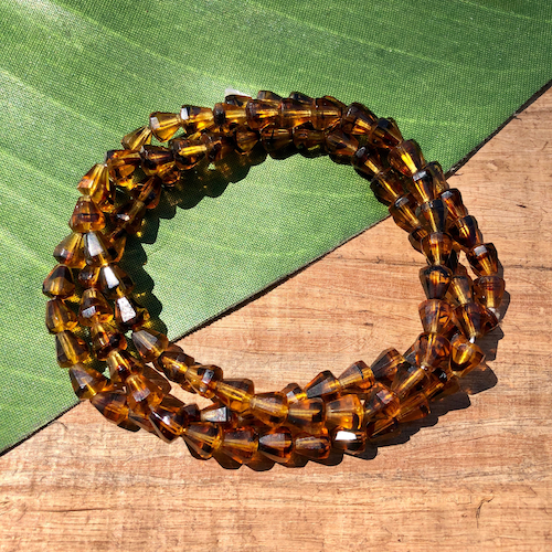 Amber Cone Beads - 100 Pieces
