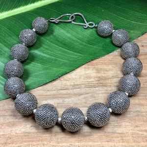 Silver Marcasite Charlotte Beaded Bead Necklace