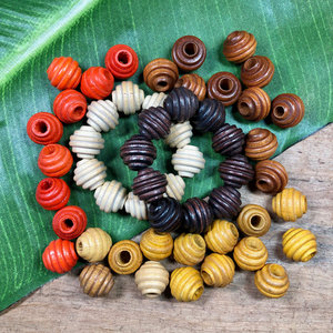 Bee Hive Wood Beads - 53 Pieces