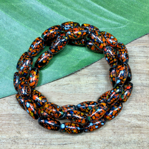 Orange & Black Oval Tube Beads - 40 Pieces