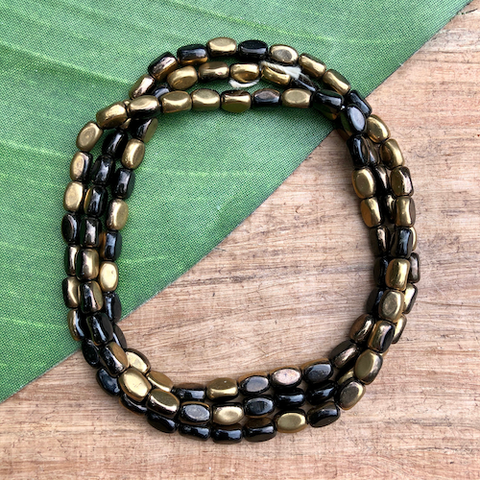 Gold and Black Tube Beads - 100 Pieces