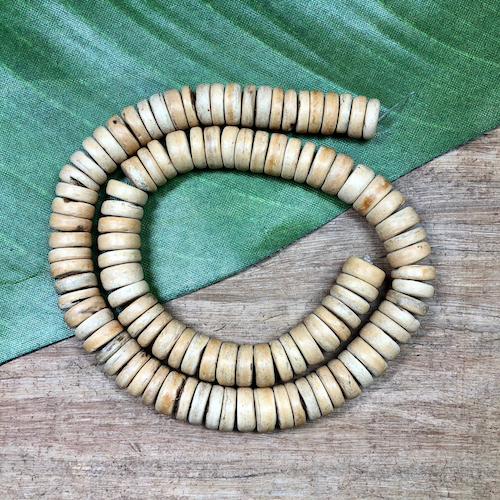 Blonde Wood Rondelle Beads - 100 Pieces