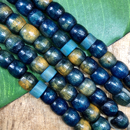 Wood Barrel Beads - 11 Pieces