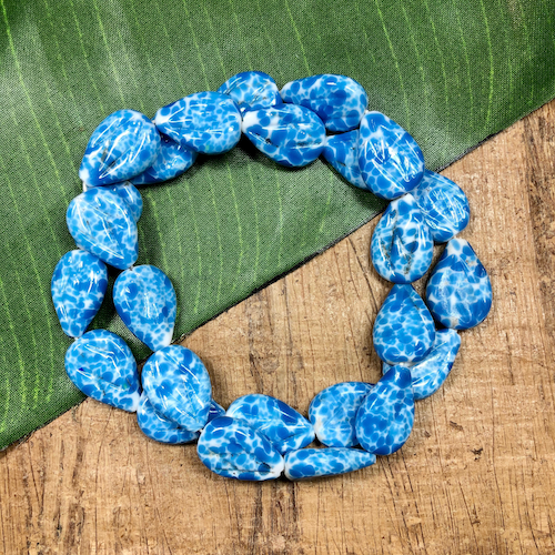 Blue & White Flat Drop Beads - 25 Pieces